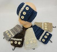 Hand Knitted Ear Band [Antique Lace with 3 Buttons]